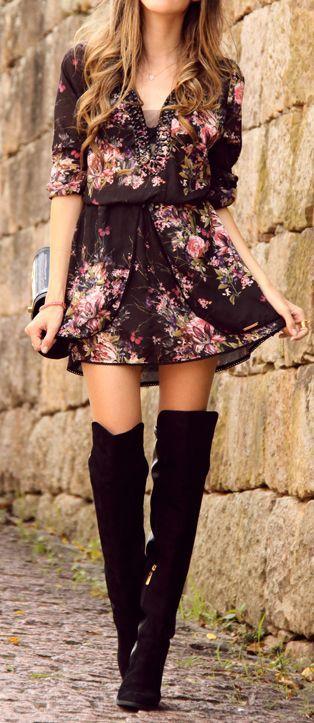 esse vestido floral combinato com a otk boot entrou para a minha lista de desejos