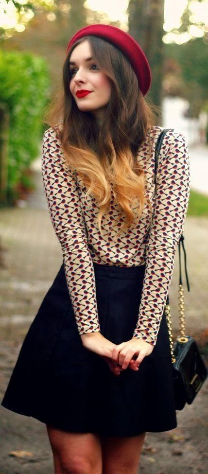 Combinar saia e camisa fica sempre lindo, ainda mais com essa pegada romântica
